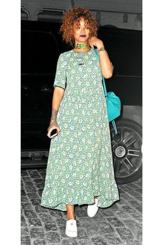 What Rihanna Wears To A Tattoo Parlor  #refinery29  http://www.refinery29.com/2015/07/90757/rihanna-floral-dress-outfit#slide-1  For a visit to a New York City tattoo parlor, Rihanna opted for a covered-up and '90s-inspired floral maxi-dress accented with an inventive mix of accessories. ...