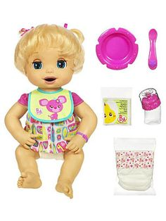 """It was the baby doll so lifelike, it was almost a little unpleasant. In Hasbro introduced Baby Alive, the doll """"that eats, drinks and wets."""" The doll's mechanical mouth could be spoon-fed. Muñeca Baby Alive, Baby Alive Dolls, Baby Dolls, Baby Doll Nursery, Baby Girl Toys, Toys For Girls, Little Doll, Little Girls, Baby Life"""