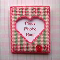 """Plastic Canvas: Cute as a Button Frame Magnet -- """"Ready, Set, Sew!"""" by Evie"""
