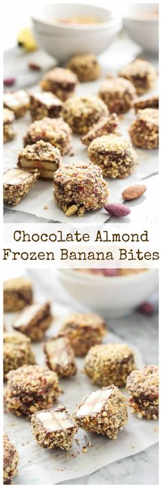 Chocolate Almond Frozen Banana Bites   Slices of banana dipped in chocolate, rolled in almonds, and frozen for the perfect snack or dessert!