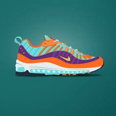 Nike Air Max 98 Cone Toms Shoes For Men, Design Nike Shoes, Sports Activities For Kids, Air Max Sneakers, Sneakers Nike, Sneakers Wallpaper, Betty Blue, Girls Soccer, Sneaker Art