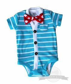 Love!  Samm got Kellen a green and blue onesie just like this- can't wait until he is big enough to wear it!