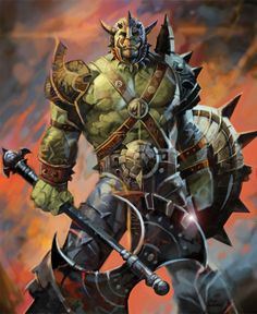 Orc Male Warrior Axe and Shield Fantasy Warrior, Orc Warrior, Fantasy Dragon, High Fantasy, Fantasy Rpg, Medieval Fantasy, Fantasy Artwork, Warcraft Orc, World Of Warcraft