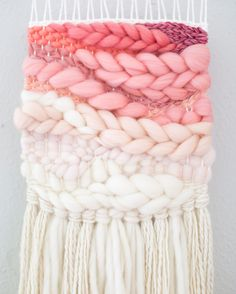 Pink Ombre woven wall hangingMTOhandwoven wall artboho nursery decorfiber wall artpink ombre de We a Weaving Loom Diy, Weaving Art, Tapestry Weaving, Hand Weaving, Weaving Projects, Macrame Projects, Weaving Designs, Yarn Crafts, Diy Crafts