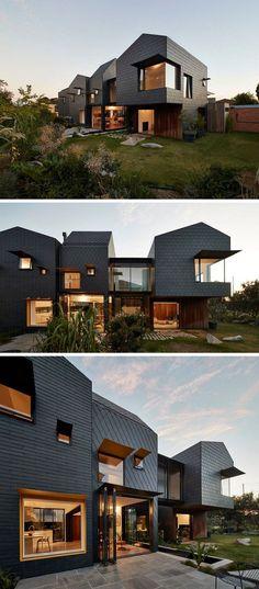 dunkelgraue Schieferplatten als moderne Fassadenverkledung