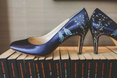 Handpainted Wedding Shoes Quirky London City Wedding www.jordannamarston.com/