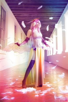 Jibril cosplay courtesy of Indiglue by Luna Lovely cosplay. I'm most happy with how the booty butt wings turned out for this cosplay…goodness i spent so many hours cutting those dumb craft foam frathers.