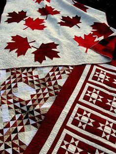 Canada quilt - Maple Leaf - wedding gift from home - national pride - snow white with red and crimson leaves. $1,449.00, via Etsy.