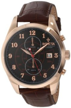 Men's Wrist Watches - Invicta Mens 12390 Vintage Chronograph Black Dial Brown Leather Strap Watch -- Details can be found by clicking on the image.