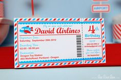 Airplane Birthday Party Invitation Personalized Printable Design by leelaaloo.com