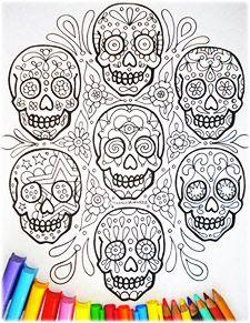 Sugar Skull Coloring Pages: A Printable E-book of 21 Sugar Skull Designs to Color