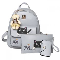 Cool! Cute Cartoon School Bag Gift Bear Doll Mouse Splicing Cat PU Kitty Backpack just $34.99 from ByGoods.com! I can't wait to get it!