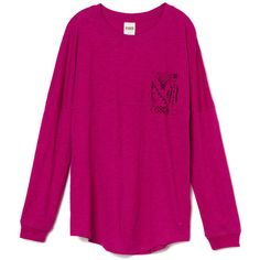 Victoria's Secret Varsity Crew Tee ($25) ❤ liked on Polyvore featuring tops, t-shirts, long sleeves, shirts, vs, purpleprintpink, crew t shirts, long sleeve pocket t shirts, long shirts and long-sleeve shirt