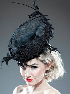 BRETT MORLEY LACE AND CRINOLINE ELEGANCE  BY HAT ACADEMY  #millinery #judithm #hats A base, pleated crin brim and stiffened lace trim. Lovely.