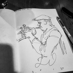 The Jemal Ramirez Quintet is on tonight...#DTSJ #Jazz #trumpet #art #sketch #drawing