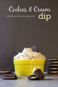 This sweet cookies and cream dip is made with cream cheese and Oreo cookies, for a fun and delicious treat! Sweet Cookies, Oreo Cookies, Dip Recipes, Cookie Recipes, Just Desserts, Delicious Desserts, Cookie Crumbs, Cookies And Cream, Yummy Treats