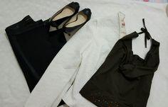 #outfitideas #outfitoftheday #streetstyle #fashion #brownblackandwhite #stiletto #heelshoes #whiteblazer #strappless #top