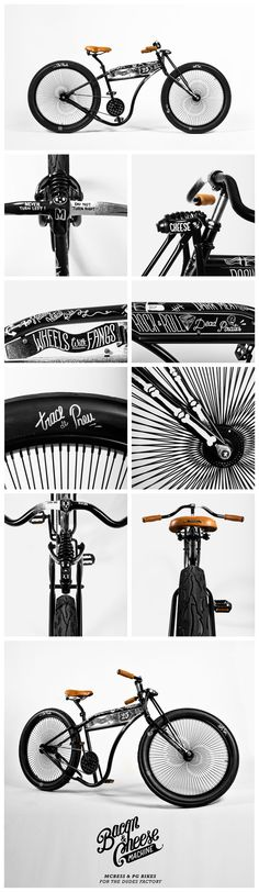 """The Bacon and Cheese Machine"" design and hand-painted by #mcbess. While his drawings and illustrations emphasize the contours of the handmade steel frame. These come together with a deluxe cruiser saddle, matching leather handles and a 144-spoke design wheel set to produce a truly unique piece of street-ready art."