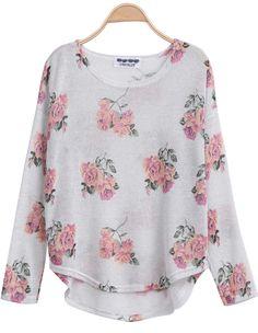 White Long Sleeve Florals Print Dipped Hem Knitwear 14.67