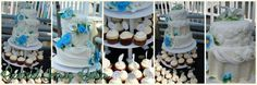 Greecian inspired white and blue birthday wedding cake and cupcakes