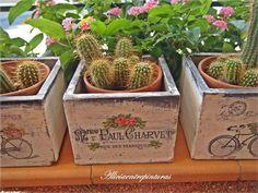 Decoupage Vintage, Decoupage Ideas, Crates, Planter Pots, Diy, Wood, Freezer, Garden Ideas, Gardens