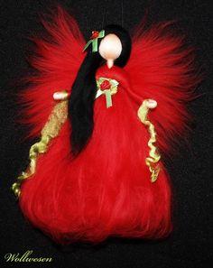 ✽ Fee rote Rose ✽ Märchenwolle Fee  / Elfe Jahreszeitentisch Dekoration