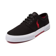 Shop for Mens Faxon Casual Shoe by Polo Ralph Lauren  in Black Red at Journeys Shoes. Shop today for the hottest brands in mens shoes and womens shoes at Journeys.com.Sporty causal sneaker from Polo, this exclusive edition Faxon features a black brushed cotton upper, sharp-look side stitched Polo logo, and refined black leather lace-up. Also features a padded shock absorbing insole and treaded rubber outsole for durable, everyday comfort. Available only at Journeys!