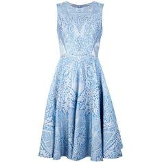 TEMPERLEY LONDON jacquard dress (€1.950) ❤ liked on Polyvore featuring dresses, vestidos, short dresses, blue, blue circle skirt, short floral dresses, floral circle skirt, blue dress and blue floral dress