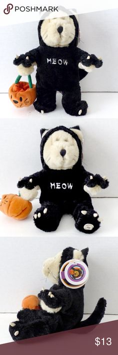 """NWT Starbucks Bearista Bear Halloween Cat Costume New with tags in excellent condition, Starbucks 11"""" Bearista Bear 2012 22nd Edition Halloween Costume Black Cat Meow Plush. Glow in the dark.  PRICE IS FIRM.  Size: Approx 11 Inches  Detail: Removable cat costume For ages 3 and older Stuffing: Polyester Fibers & PE Pallets Made in China Starbucks Other"""