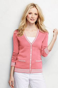 Women's Cotton V-neck Cardigan Sweater from Lands' End