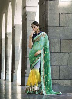 Stunning Sea Green & Yellow Designer Saree - shopneez.com