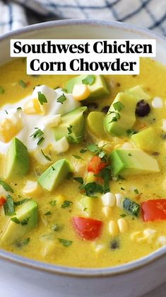 Chowder Recipes, Soup Recipes, Chicken Recipes, Dinner Recipes, Healthy Soup, Healthy Recipes, Crockpot Recipes, Cooking Recipes, Chicken Corn Chowder