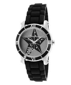 This Black & White Stripe Star Bracelet Watch by Thierry Mugler is perfect! #zulilyfinds