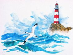 le_phare_de_la_mouette Watercolor Sketch, Watercolor Paintings, Watercolours, Acrylic Painting Inspiration, Lighthouse Painting, Bible Art, Elementary Art, Beach Themes, Sea Creatures