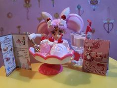 Sailor Chibi Moon enjoying her Re-ment cafe sweets Sailor Chibi Moon, Rement, Sweets, Dolls, Baby Dolls, Gummi Candy, Candy, Puppet, Goodies