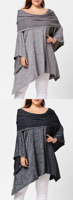 Asymmetric Off Shoulder Plus Size Tunic Top