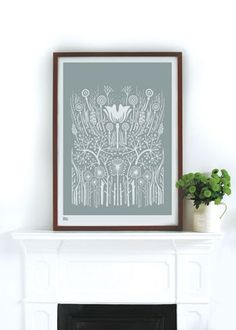 Hedgerow in Warm Grey - decorative screen print on Etsy, $66.00