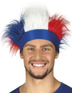 Bandeau avec cheveux tricolore France adulte : Ce bandeau de supporter pour adulte est bleu. Des cheveux synthétiques aux couleurs de la France sont fixés en haut du bandeau.L'arrière du bandeau est élastique afin...