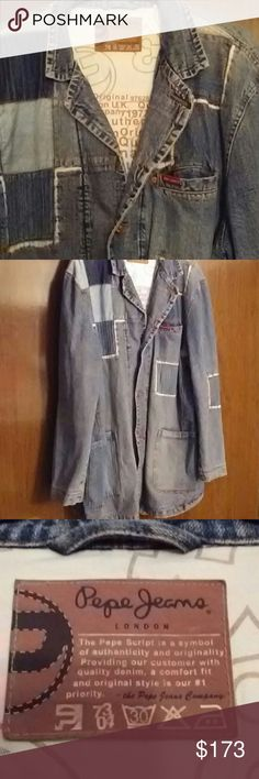 """Pepe Jeans Mens Jacket Pepe Jeans Patchwork Denim jacket. 1 breast pocket and 2 deep side pockets, 1 inner pocket. In like new condition, no stains or tears. 100% cotton.  Laying flat, armpit to armpit measurement is 28"""". Length is 37"""". Fits a 4X. OFFERS ACCEPTED Pepe Jeans Jackets & Coats"""