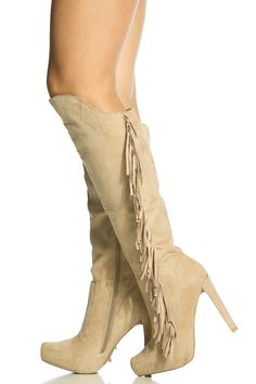 Taupe Faux Suede Fringe Platform Boots @ Cicihot Boots Catalog:women's winter boots,leather thigh high boots,black platform knee high boots,over the knee boots,Go Go boots,cowgirl boots,gladiator boots,womens dress boots,skirt boots.