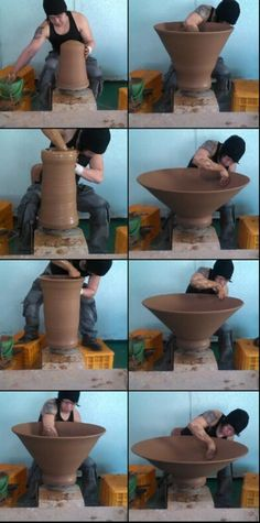 raising a big bowl- amazing, and so delicate - DEVON, here's your popcorn bowl!!
