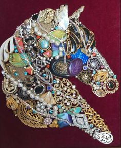 This is a unique one of a kind piece composed of a fabulous variety of costume jewelry. The artist, I. Shepherd has used her imagination to repurpose the jewels into the likeness of the feisty horse. The jewels are mounted on burgundy velvet and Jewelry Frames, Jewelry Tree, Horse Jewelry, Vintage Jewelry Crafts, Antique Jewelry, Recycled Jewelry, Dainty Jewelry, Simple Jewelry, Antique Art