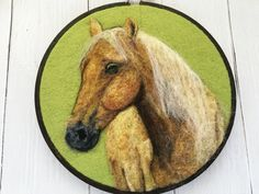 Ready to ship needle felted portrait of a horse - perfect as a wall art, nursery decor or a gift to animal lover in your life.  This portrait
