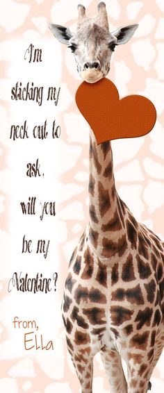 Personalized giraffe Valentine Cards, 2.5x6 printables by MelindaBryantPhoto. Click on the photo to shop for this, or many other fun cards that will be perfect for your kids this Valentines Day. #valentinesday2016