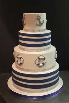Nautical Glam | Flickr - Photo Sharing! Amazing cake. Time to get out that fondant tutorial and figure out how to do this.