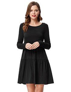 dd23780687f1 Kate Kasin Women s Casual Long Sleeve Empire Waist Solid Loose Tunic Dress   clothing  tshirt