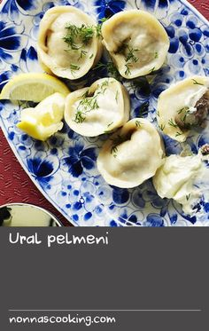 "Ural pelmeni | Meaning ""ear bread"", alluding to its shape, ural pelmeni are made from a thin flour dough and encase a filling that often comprises of freshly minced pork,lamb and beef. Traditionally these dumplings were made at the start of winter, stored outside to freeze and were boiled as they were needed. Pelmeni are usually served with melted butter or dill and a dollop of sour cream. Bread Dough Recipe, Creamed Beef, Pork Mince, Mince Recipes, Spanakopita, Melted Butter, Dumplings, Freeze, Sour Cream"