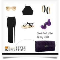 """""""::STYLE INSPIRATION – Chanel Purple Velvet Boy long Wallet ::"""" by the-attic-place on Polyvore"""