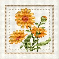 October - Calendula, Project 2010 - Flower of the Month, designed by Ellen Maurer-Stroh, from EMS Cross Stitch Design.