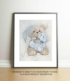 Bear Baby Boy Art Print, Nursery Decor, Bear Nursery Art, Blue, Nursery Wall Art, Baby Boy Nursery, Boy Nursery Art, Baby Bear Art Print